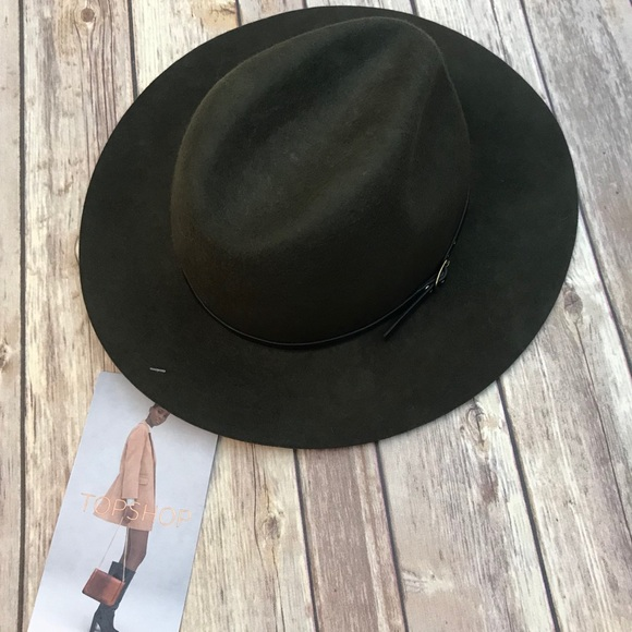 9c26a792aec  TOPSHOP  Classic Fedora 100% Wool Olive Green Hat